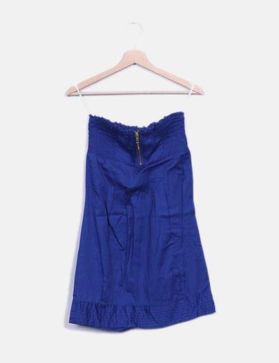 Vestido palabra de honor azul Moda Link