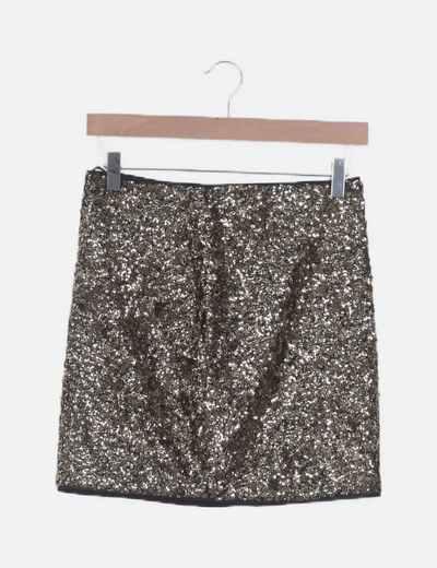 Mini falda lentejuelas doradas
