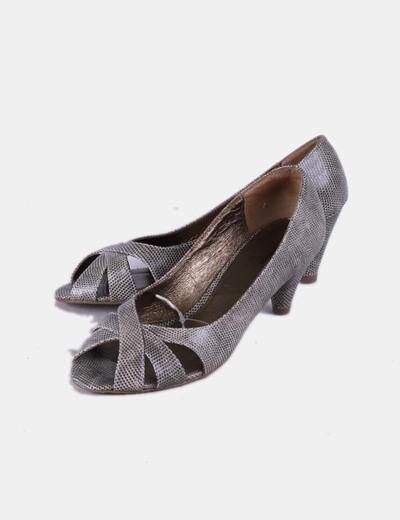 Zapatos peep toe texturizados Tex Woman