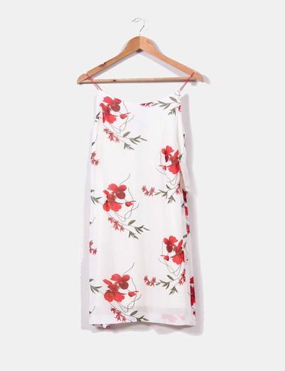 Vestido blanco print floral Paz Torras