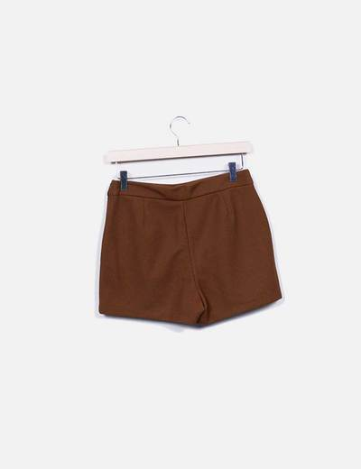 Mini falda pantalon marron