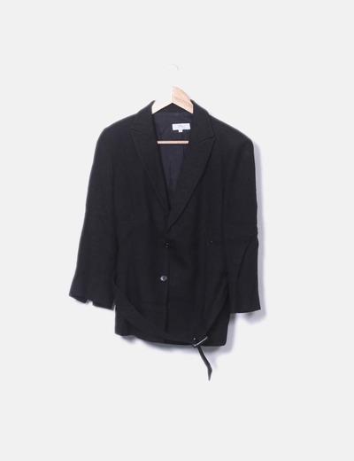 Conjunto de pantalón y blazer lino negro
