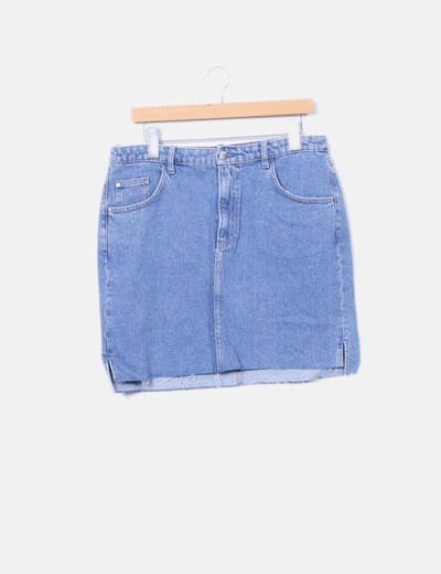 Mini saia azul denim H&M