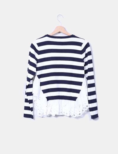Jersey tricot navy combinado peplum