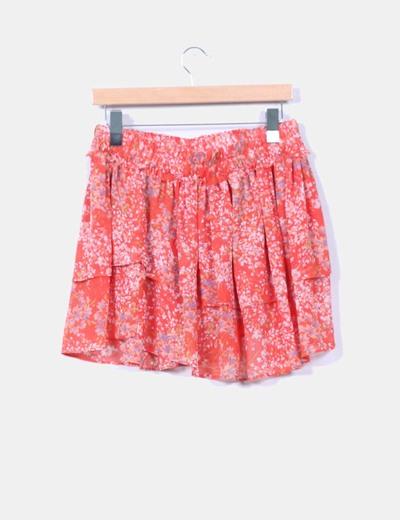 Falda volantes coral estampada