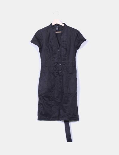 Vestido camisero negro manga corta H&M