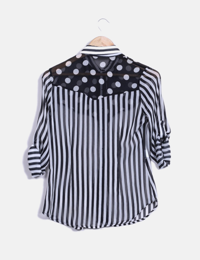 Blusa manga larga bicolor