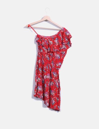 Vestido mini rojo floral asimetrico