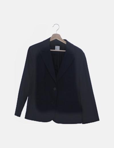 Traje blazer y falda azul raya