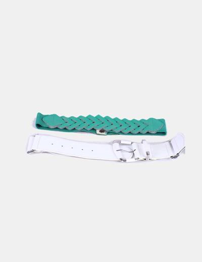 Conjunto cinturones verde y blanco NoName