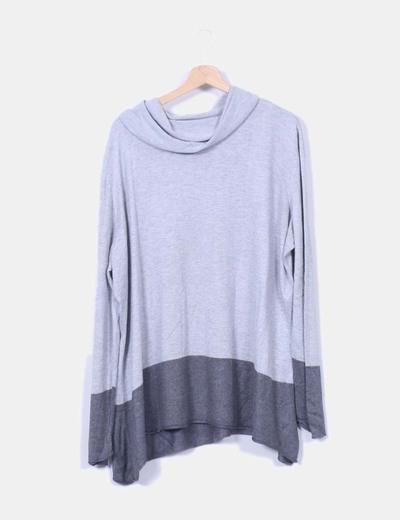 C A Pull gris col roulé en deux couleurs (réduction 83%) - Micolet 6edd01d6835