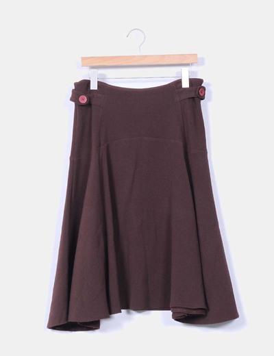 Falda midi marrón NoName