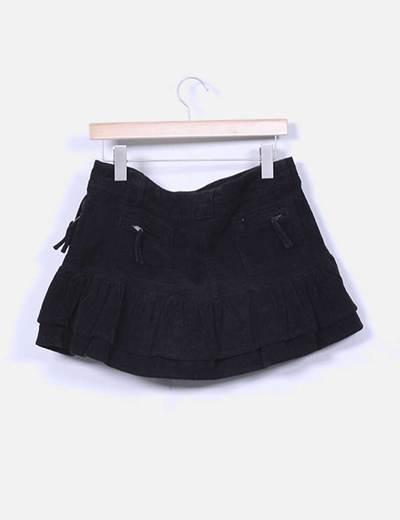Mini falda negra de pana con volantes