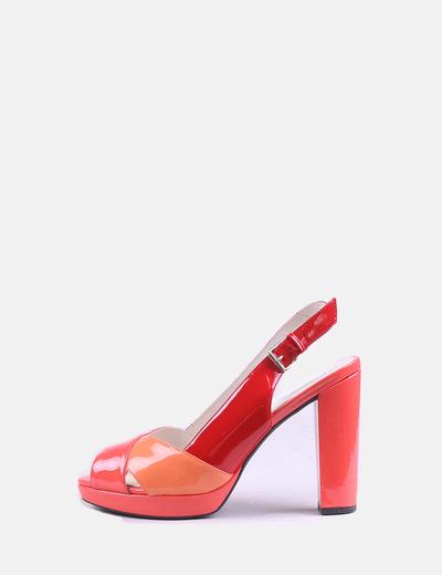 Sandalia de tacón combinado brillante