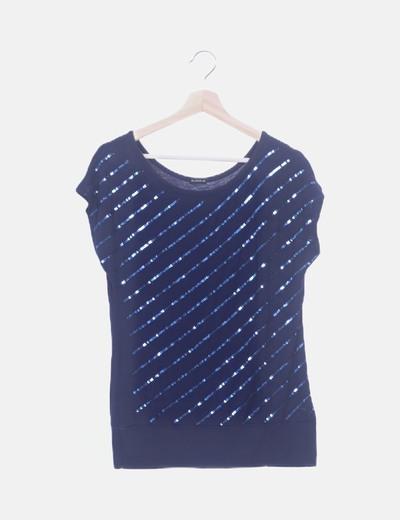 Camiseta azul marina con paillettes