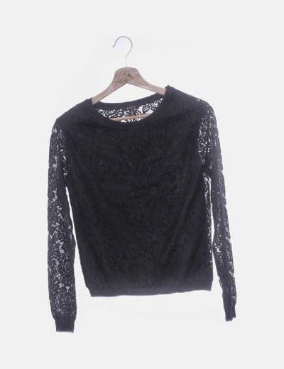Camiseta de encaje negra