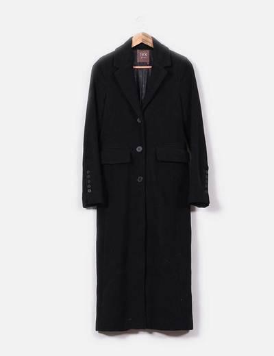 33011631743 Tex Woman Abrigo largo negro de paño (descuento 70%) - Micolet