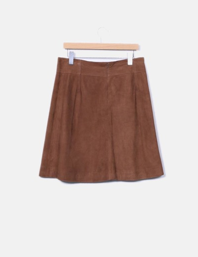 Caroll Jupe marron en cuir (réduction 91%) - Micolet 79fb5a42225