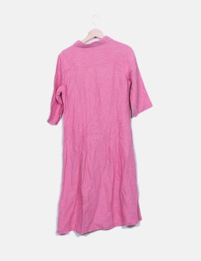 Vestido maxi lino rosa