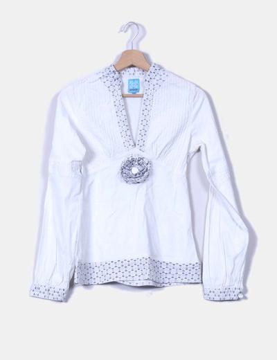 Camisa de lino bordada con strass Romanelli