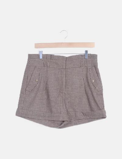 Short de lana cuadros harris marrón