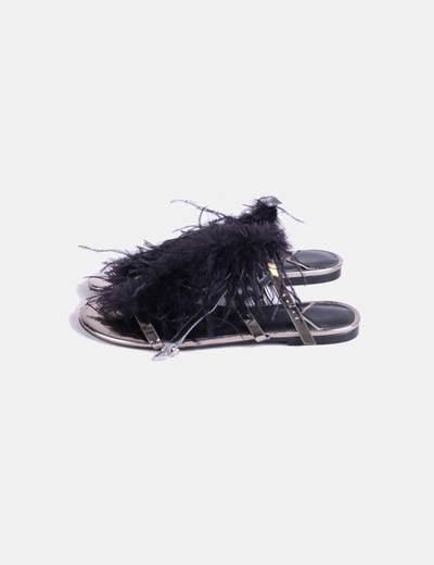 buscar auténtico liquidación de venta caliente último diseño Sandalia plana plumas negras