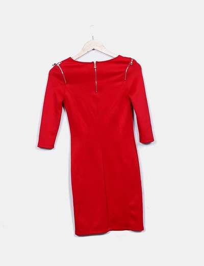 Vestido elastico rojo con cremalleras