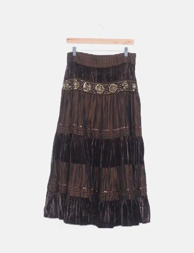 Falda maxi combinada marrón abalorios
