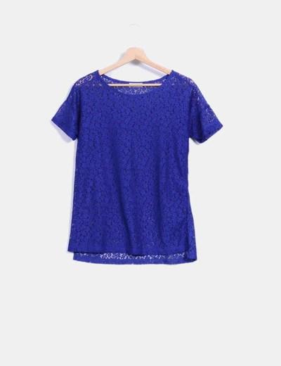 Camiseta azul klein de encaje Pull&Bear