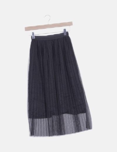 Falda negra tul plisado