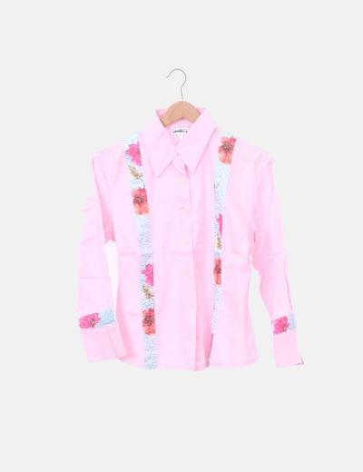 Camisa rosa franja floral