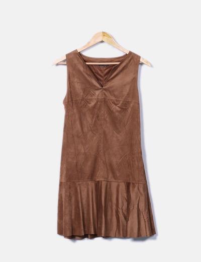 Vestido marrón de antelina Fórmula Joven