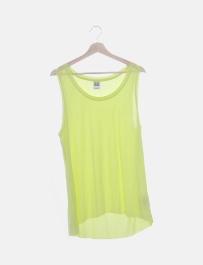 Camiseta amarillo flúor sin mangas