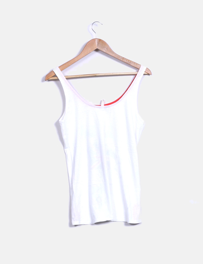 Camiseta tirantes blanca print nina con bandera
