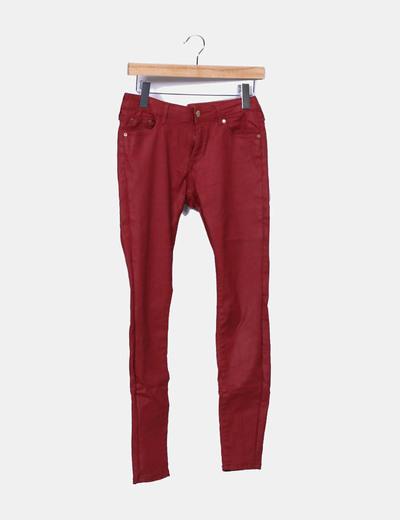 Pantalon grenat denim slim fit Zara