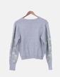 Jersey tricot gris bordado floral Mango
