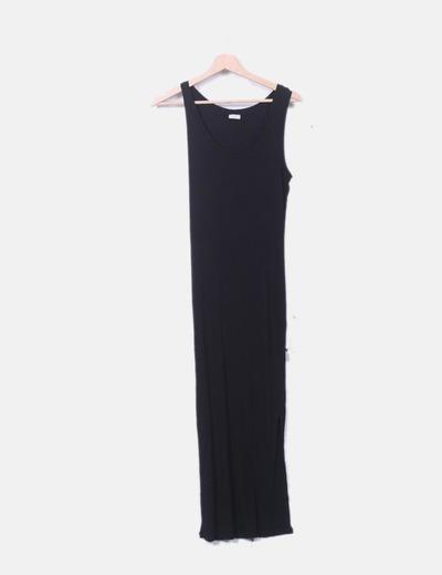 Maxi vestido negro canalé