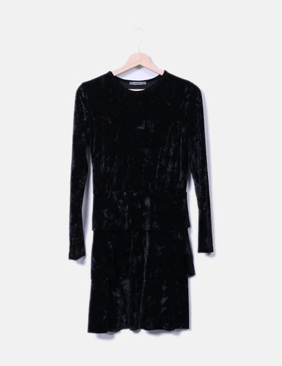 Vestido negro volantes Sense
