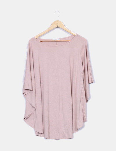 Camiseta fluida rosa nude Mango