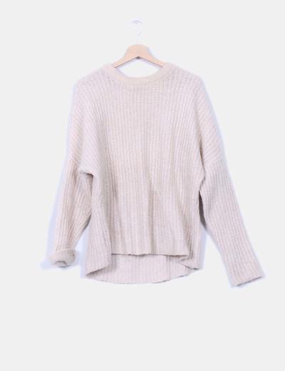 Jersey beige de punto grueso Zara