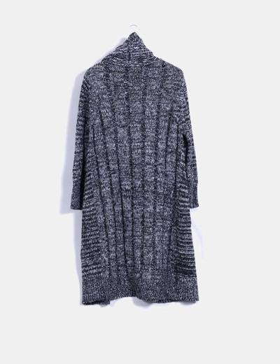Cardigan lana negra jaspeada con cuello