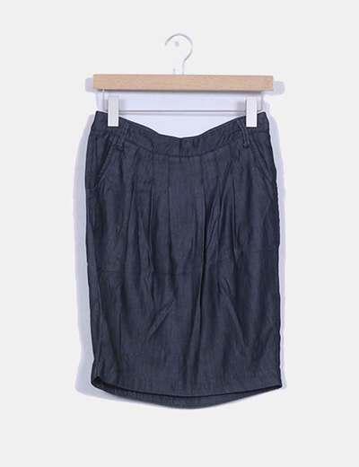 Falda midi efecto vaquero Zara