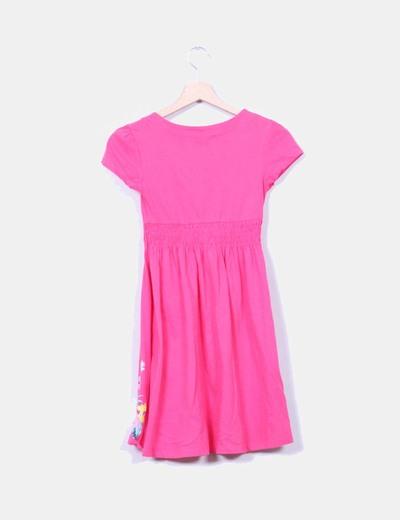 Vestido rosa fucsia con estampado floral