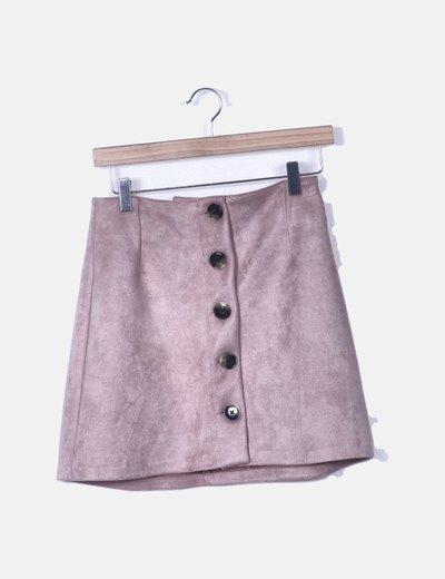 Falda antelina rosa