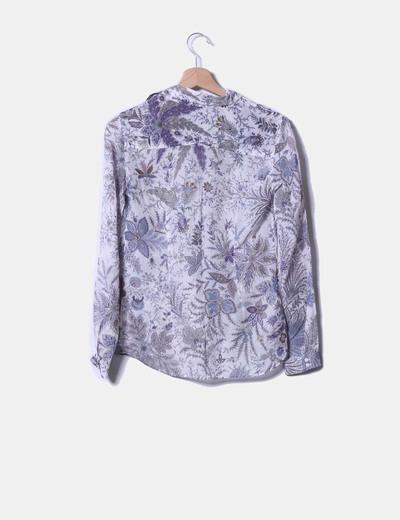 Blusa de seda floral manga larga