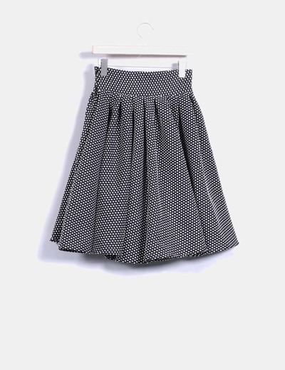 Falda midi vintage negra topos blancos plumetti