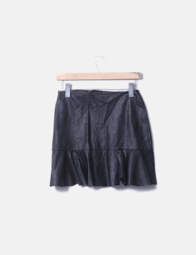 73f8fad8dd1 Zara Falda negra polipiel (descuento 55%) - Micolet