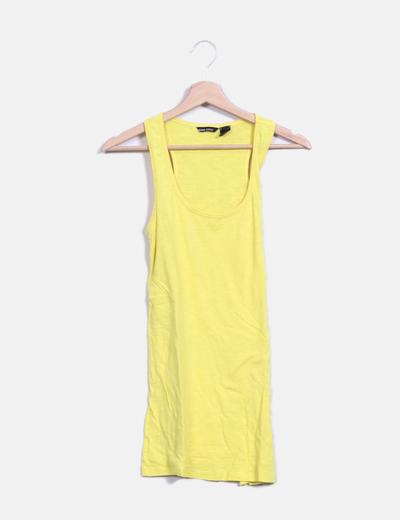 Camiseta espalda nadadora amarilla Mango