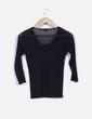 Blusa negra sem-transparente de escote cuadrado NoName