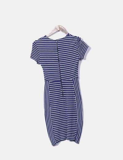 Vestido azul rayas blancas
